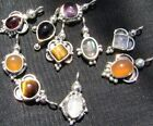 6132JW Charm Drop Small Pendant  .925 Sterling Silver Gemstone Choose Your Stone