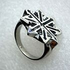 Arms Symbol of Eight Star of Chaos 8 Pointed Arrow Metal Pewter Ring Silver