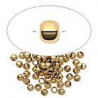 Crimp, Spacer Bead, Gold ptd Brass Ball Round, 2mm, 2.5mm, 2x1.5mm, 3mm 100 Qty