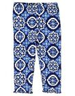 GYMBOREE GREEK ISLE STYLE BLUE GEOMETRIC MOSAIC PRINT LEGGINGS 12 18 24 2T 3T