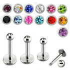 "1pc. 14G~1/4"" to 1/2"" 316L Steel Labret Monroe Tragus Piercing with 3mm CZ Ball"