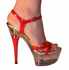 CLEAR PLATFORM, RED PATENT SANDALS, STILETTO HEEL, 2-8