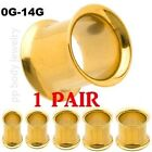 1 PAIR 14G to 0G 14K Gold Plated 316L Surgical Steel Double Flared Tunnel Plugs