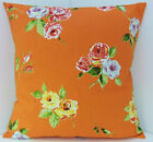 ROSE FLORAL CUSHION COVERS SHABBY CHIC-STYLE VIBRANT ORANGE GREEN LEAVES YELLOW