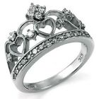 Sterling Silver Cubic Zirconia Crown & Heart Ring