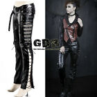 PUNK VISUAL KEI BLACK STUB SLIM ZIP UP K131 SHAPE STUB PANTS S-2XL