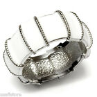 White Ribbed Epoxy Band Silver Stainless Steel Ladies Ring New