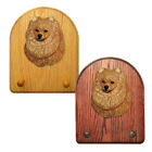 Pomeranian Wood Carved Dog Figure Key Leash Holder Home Decor Dog Product Gifts
