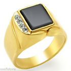 Jet Black Onyx Four Stones Gold EP Mens Tutone Ring