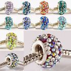 Multicolor Austrian AB Crystal 925 STR Silver European Charm Bead Fit Bracelet