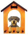 Doberman (Natural) Dog House Leash Holder. In Home Wall Decor Products & Gifts.