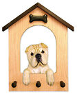 Shar Pei Dog House Leash Holder. In Home Wall Decor Products & Dog Breed Gifts.