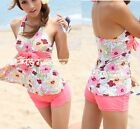2 PCS Pink Hawaiian Floral Padded Halter Tankini Top Swim Dress with Shorts Set