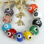 5PCS Lampwork Glass Evil's Eye Spacer European Beads Fit Charm Bracelet 10 Color