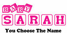 Personalized Name BABY BLOCKS Kids wall art vinyl decal Removable  nursery