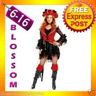F40 Ladies Wench Red Captain Swashbuckler Pirate Fancy Dress Party Costume & Hat