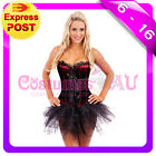 Burlesque Satin Moulin Rouge Corset Dress Up Costume Showgirl Bustier Tutu Skirt