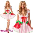 Ladies Strawberry Shortcake Costume Storybook Fancy Dress Party Full Outfit