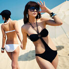 Black One Piece Women Cut Out Bandage Monokini Swimsuit Swimwear Bathing Suit