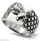 Flying Eagle No Stone Mens Silver Stainless Steel Ring