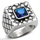Mens Square Cut Montana Blue Stone Stainless Steel Ring