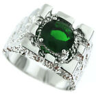Mens Rampart Emerald Green CZ Stone Silver Rhodium Plated Ring Size 9-13