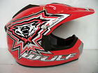 WULFSPORT KIDS MOTOCROSS HELMET (ALL SIZES) RED WULF YOUTH PW QUAD LT MX CHILD