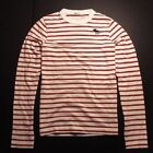 NEW Abercrombie & Fitch Mens Crew Stripes long sleeve TEE shirt Red
