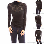 Sexy Black Floral Lace Polo Neck Long Sleeve Blouse Top