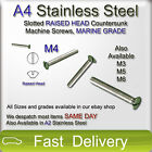 M4 A4 Stainless Steel Slotted RAISED HEAD CSK Machine Screws Bolts MARINE GRADE