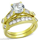 8MM RCut Stone Wedding Band Gold Plated Ring Set