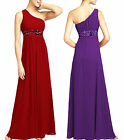 New Sequins Shirring One Shoulder Prom Formal Bridesmaid Dress Evening Gown