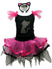 Kitty Cat Princess Girls Costume Dress Ballet Leotard Tutu + Headband Age 1-9