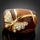 Swarovski Crystal Brown Enamel Butterfly Gold GP Rings