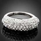Clear Swarovski Crystals Engagement White Gold GP Ring