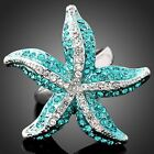 Swarovski blue Crystal starfish WGP Fashion Finger Ring
