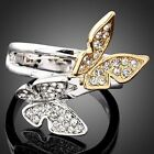 Butterfly Swarovski Crystal White Gold GP Finger Ring