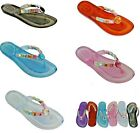 WOMENS LADIES FLIP FLOPS SANDALS TOE POSTS JELLY GEL GEMS ALL COLOURS & SIZES