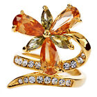 18K gold GP ARINNA triple citrine drop Cocktail Fashion Ring Swarovski Crystal