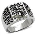 New 316 Stainless Steel Mens Mason Knights Templar Ring SIZE 8-13