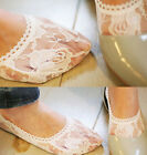 Ladies Fashion Lace Sheer Hollowing Boat Ankle Invisible Socks White Black New