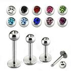 "1pc. 14G~1/4"",5/16"",3/8"",7/16"",1/2"" 316L Steel Labret/Monroe w/ 3-4-5mm Gem Ball"