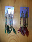 Chain & Feathers w/ Heart Circles Turquoise or Burgundy - Choice of Color!