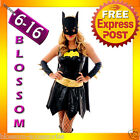 F76 Batgirl Super Hero Superhero Ladies Fancy Dress Costume Outfit Cape & Mask