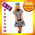 F80 Ladies Prisoner Jail Bird Convict Outfit Fancy Dress Halloween Costume & Hat