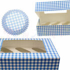 Culpitt Blue Gingham Cupcake CASES or BOXES & inserts Baking/Muffin/Bun/Cake/Boy