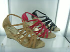 New Womens Soft Strappy Cork Wedge Heels  Sandals Shoes Size 3-8