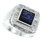 Square Montana Blue Top With Clear CZ Pave Silver Rhodium EP Mens Ring