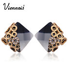 Viennois Elegant Square Black Crystal Gold Tone Stud Earrings Hot Gift