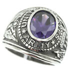 Amethyst Purple Stone US Army Military Stainless Steel Mens Ring
